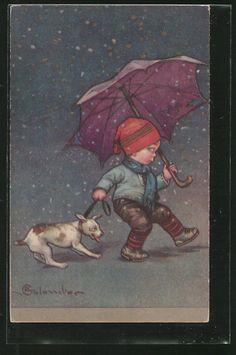 Künstler-AK E.Colombo: Junge zieht seinen Hund durch den Regen 0