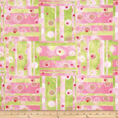 The Garden Club Patchwork Pink/Green from @fabricdotcom  Designed by Shelley Detton for Benartex, this cotton print fabric is perfect for quilting, apparel and home decor accents. Colors include watercolors of green, pink, melon and white.