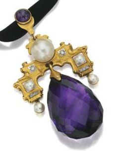18 karat gold, amethyst, pearl and diamond pendant, French, circa 1900. The stepped plaque of matte gold decorated with 5 pearls and 8 rose-cut diamonds, supporting a large pear-shaped briolette amethyst measuring approximately 41.0 by 28.7 by 16.5 mm., the pendant loop with a round cabochon amethyst, assay mark and partial maker's mark.