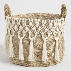 Our boho& basket features an intricate tasseled macrame design you& adore for display, storage or both. Expertly handcrafted from natural& seagrass and cotton thread, this generously& basket is naturally stunning. Bedroom Decor For Couples, Diy Bedroom Decor, Wall Decor, Bedroom Table, Decor Room, Home Decor, Small Bathroom Paint Colors, Rope Crafts, Flower Crafts