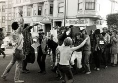 "Social History, San Francisco, California, USA, 6th October 1967.  More than 100 hippies hold rites celebrating the ""Death of the Hippie"" as they parade down Haight Street, center of the famed Haight-Ashbury district, carrying a symbolic casket in a protest against being labeled ""hippies.""  (Photo by Rolls Press/Popperfoto/Getty Images)"