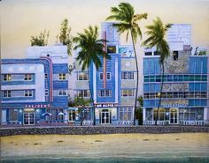 miami-beach Gouache, Miami Beach, Art Deco, Street View, Painting, Graphics, Pictures, Drawing S, Painting Art