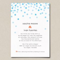 Clean typography and lively polka dots give this invitation a playful, modern vibe that would complement a chic event held in an art gallery or industrial loft. Invitations by A Printable Press are delivered as a print-ready PDF, which you can take to a printer or print yourself from home. Confetti invitation, about $220 (printer); about $160 (from home); printablepress.com