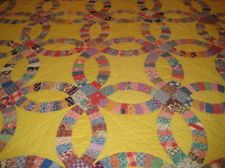 "1930's Antique Hand Made Wedding Ring Quilt ! 72"" x 63"""