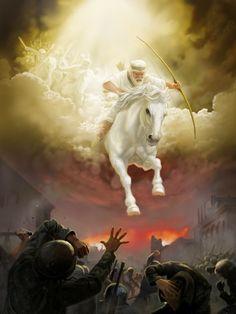 Jesús y sus ángeles cabalgando sobre caballos blancos en el Armagedón