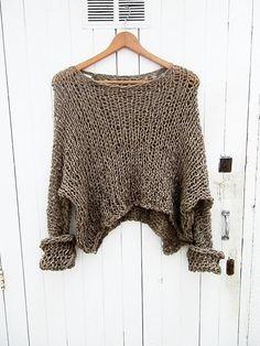 Blouse women knitted transparent shirt large by armarioenruinas, €18.00