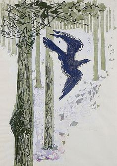 The Cuckoo, 1958, Gertrude Anna Bertha Hermes. Woodblock and linocut in colours -
