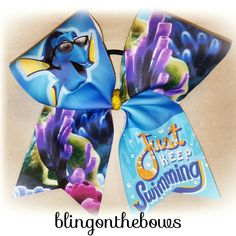 Dory cheer bow by Blingonthebows.com  #justkeepswimming #disney #findingdory #cheerbows