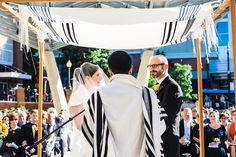 Jewish Wedding Tallit Chuppah, Tallis Huppah {Photos: Kristin Chalmers} - mazelmoments.com #JewishWedding #Wedding