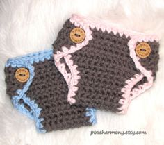 Twin Baby Boy and Girl DIAPER Covers  Gray Pink by pixieharmony