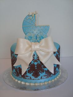 Blue and Brown Damask baby shower cake by Let There Be Cake, via Flickr