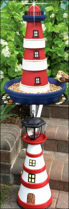 How To Make Clay Pot Lighthouse http://theownerbuildernetwork.co/2ifg Looking for a simple project to decorate your yard? Why not make this lighthouse made from clay pots? Could your garden use one of these?