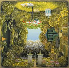 Jacek Yerka is a surrealist painter from Toruń, Poland. He was born in an artistic family with both his parents graduates from a local Fine Art Academy. As a child, Yerka loved to draw and make sculpt Garden Painting, Garden Art, Dream Garden, Illustrations, Illustration Art, Earth Design, Magic Realism, Fantasy Kunst, Surrealism Painting