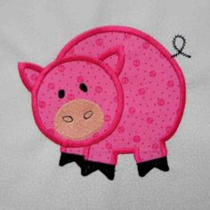 PIG Farm Applique and Embroidered Quilt Block by by amyglitterbug, $6.99