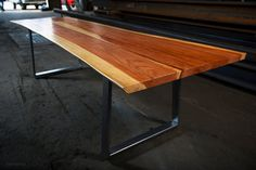Thin Reverse Matched Live Edge Dining Table // Redwood by MezWorks