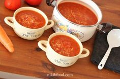 Tomato Rice Soup, Don't you agree that there's nothing like a bowl of hot soup on a cold and rainy day to warm your belly and put a smile on your face? Potato Recipes, Soup Recipes, Vegan Recipes, Dessert Recipes, Cooking Recipes, Desserts, Tomato Rice Soup, Good Food, Yummy Food