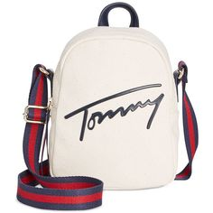 Tommy Hilfiger Tommy Script Mini Crossbody Backpack found on Polyvore featuring bags, backpacks, natural, white crossbody, tommy hilfiger backpack, backpack crossbody, crossbody backpack and white cross body bag