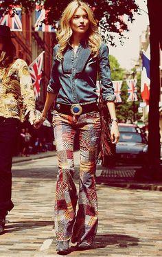 Free People - Blue Velvet & Chambray Vintage Denim Shirt & fab flares