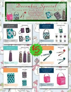 This is our December special! For everyone who purchases 35 dollars of products, you can purchase one of these great little gift ideas for 5 dollars. Take some orders and turn it into a catalog party and get some of your Wedding gifts for free! Thirty One Party, My Thirty One, Thirty One Bags, Thirty One Gifts, Thirty One Consultant, Independent Consultant, Thirty One Business, 31 Gifts, 31 Bags
