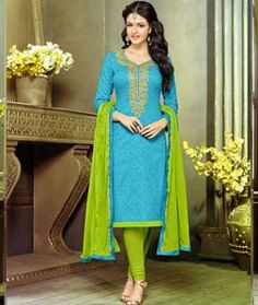 Buy Sky Blue Cotton Jacquard Churidar Suit 71860 online at lowest price from huge collection of salwar kameez at Indianclothstore.com.