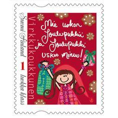 """Postimerkki """"Mie uskon joulupukkii ja joulupukki uskoo minuu"""" Postage Stamps, Finland, Cover, Books, Christmas, Xmas, Libros, Weihnachten, Navidad"""