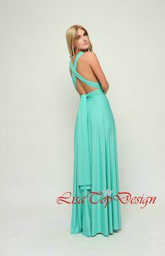 Aqua Green Long Infinity Dress Convertible dress by LisaTopDesign