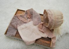 Newborn Photo Prop, Antique, Newborn Romper, Newborn Bonnet, Baby Set, Newborn Props, Baby Picture Prop, Lace Romper, Baby Outfit, Nude by LovelyBabyPhotoProps on Etsy