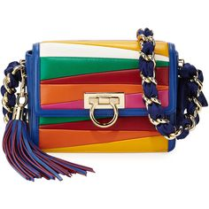 Salvatore Ferragamo Solaria Small Leather Crossbody Bag (€1.805) ❤ liked on Polyvore featuring bags, handbags, shoulder bags, blue denim, blue leather purse, crossbody shoulder bags, blue leather shoulder bag, chain shoulder bag and leather handbags