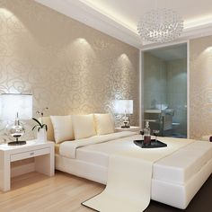 shimmery/metallic/subtle pattern on walls; soothing/elegant color palette