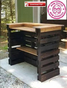 Pallet Woodworking Pallet Wood bar - In the modern world of home interior design Storage ideas have immense importance. People want to design storage ideas and projects in such a manner that […] Bar Pallet, Palet Bar, Pallet Bar Plans, Outdoor Pallet Bar, Pallet Storage, Outdoor Seating, Storage Ideas, Pallet Bar Stools, Pallet Benches