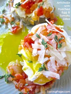 Enjoy fresh artichokes for breakfast, lunch or dinner with a poached egg and tomato salsa on top | TastingPage.com
