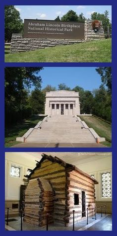 Birthplace of Abraham Lincoln, Abraham Lincoln Birthplace National Historical Park, Hodgenville, Kentucky - Built at the location of Lincoln's birth the solid marble, neoclassical monument houses the symbolic cabin of Lincoln's birth. Abraham Lincoln Birthplace, Kentucky Attractions, My Old Kentucky Home, Camping Places, All I Ever Wanted, Vacation Spots, Vacation Ideas, Weekend Trips, Historical Sites