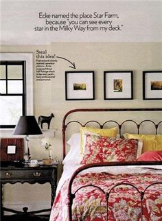 This headboard is very similar to mine, and I never quite know how to decorate around my bed, I like the three gallery frames above it!