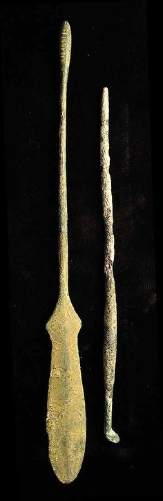 Ancient Roman medical instruments - scalpel and ligula (spoon or ear pick)