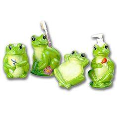 Amazon.com: Frogs Bathroom Bath Accessories Set SOO Cute! ~New!~: Home & Kitchen Frog Bathroom, Bathroom Bath, Bathroom Stuff, Bathroom Ideas, Frog House, Owl Cat, Frog Theme, Frog Life, Anime Maid