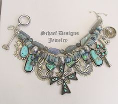 Schaef Designs Zuni Navajo Labradorite, turquoise, & opal & sterling silver charms bracelet | online upscale Native American & southwestern jewelry | Schaef Designs Southwestern turquoise Jewelry | New Mexico