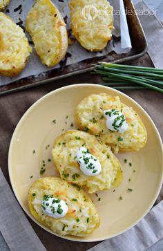 Papa al horno rellena o twice baked potatoes www.pizcadesabor.com