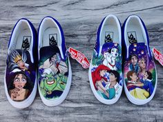 Disney Princesses and Villains Mashup Interchangeable Handpainted VANS for Signe  Slip-on Vans Size 7.5 These two pairs of shoes were custom designed for the special Miss Signe. This shoe features couples like Ariel and Eric, Rapunzel and Flynn, Snow White and Prince Charming and 101 Dalmations. On the other hand weve got the matching mother/queen villains such as Ursula, Cruella de Vil, etc. The best things about these shoes are that they are INTERCHANGEABLE so they can be worn a total ...