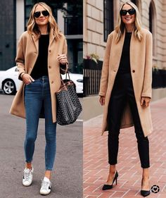 Camel coat (left everlane - size 2 / right saks size XS) black sweater (xs) jeans (tts) golden goose sneakers black pumps Winter Fashion Outfits, Winter Outfits, Autumn Fashion, Spring Outfits, Spring Fashion, Looks Chic, Looks Style, Classy Outfits, Vintage Outfits