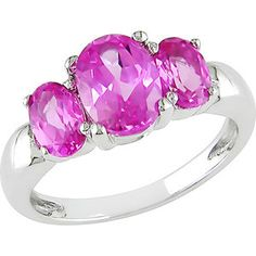 3-1/2 Carat T.G.W. Oval Pink Sapphire 3-Stone Ring in Sterling Silver