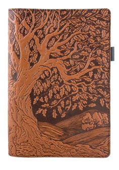 Leather Portfolio, Padfolio, Notebook, Small | Tree of Life in Saddle