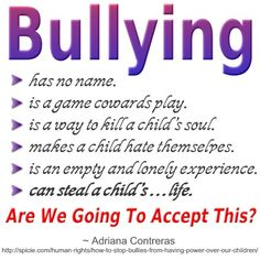 Bullying can steal a child's life. #bullying