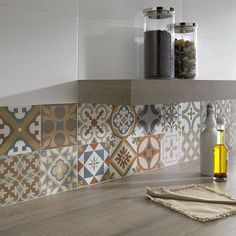 Crédence cuisine en carreaux de ciment patchwork et dosseret artistique