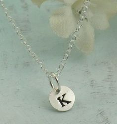 Sterling Silver Round Initial Charm Letter g Lower Case Hand Stamped Pendant with 16 Sterling Silver Bead Chain