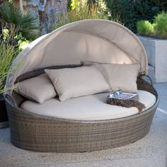 Have to have it. Coral Coast Moorea All-Weather Wicker Cabana Day Bed with Canopy - $949.98 @hayneedle
