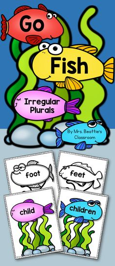 """This """"Go Fish"""" style game from Mrs. Beattie's Classroom includes 24 common irregular plural nouns and their singular form. Students can use these as a matching activity, card game, flash cards, or any other purpose in your classroom! Pre Primer Sight Words, Sight Words List, Word Work Activities, Reading Activities, Teaching Reading, Teaching Nouns, Nanny Activities, Geography Activities, Speech Activities"""