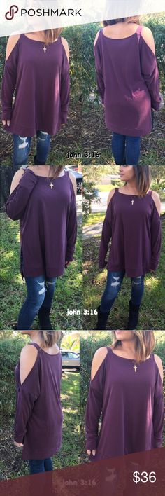 Long sleeve casual tops Plum colored cold shoulder tops also has side slits at the bottom...trendy and chic. 65% rayon 35% polyester - price is firm✔️ Tops