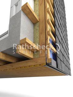 Rathscheck Schieferdetails - Schieferfassade-Ausfuehrung Arkade Schiefer an Holz