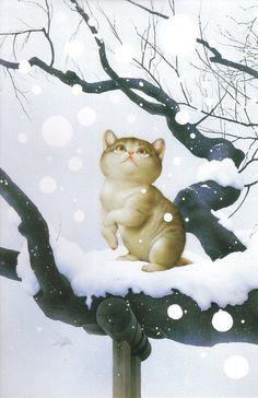 Makoto Muramatsu Sneeuw de meeste katten houden er niet van,dit is zo lief lb xxx.