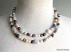 Freshwater pearl double strand necklace multi by HollyMackDesigns, $99.00